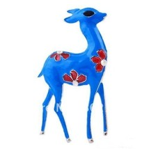 Blue Flower Fawn Deer Fashion Brooch Pin with R... - $19.79
