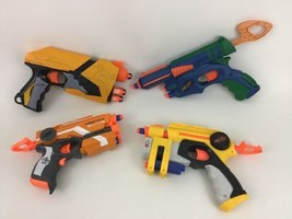 Nerf Red-Dot Firestrike Single Fire Pistols Lot (4) N-Strike Dart Guns w... - $35.59