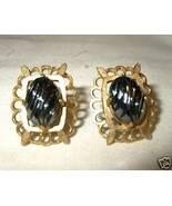 j74 Vintage Unique Carved Hematite Stone Screw Back Gold tone Earrings - $7.98