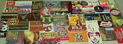 50 ROCK STICKERS/PINS/CD's-Incubus,Son Volt,Flyleaf+++1
