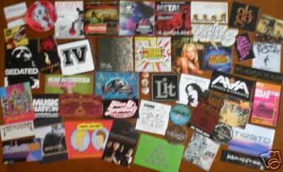 50 PROMO STICKERS+CD's+PINS+Slayer,OK Go,Son Volt,Lit+6