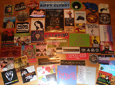 50 MUSIC STICKERS+CD's-Modest Mouse,Disturbed,Serj,Zep7