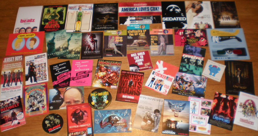 42 MOVIE POSTCARDS+STICKERS Kiss Bang,Dewey Cox,Elf++++