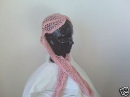 Gypsy Style Knitted Pink Hat Scarf With Tails - $10.00