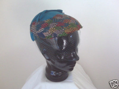 Feather Cap With Blue Felt And Netting