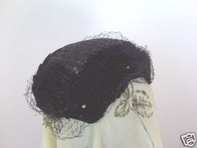 Velvet Scalloped Skull Cap with Netting