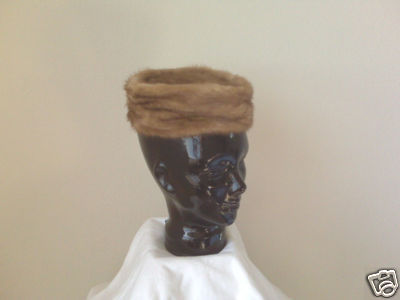 Mink Fur Pillbox Style Ladies Hat