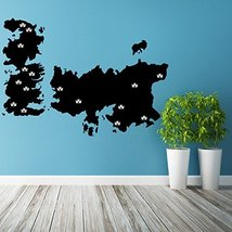( 55'' x 39'' ) Vinyl Wall Decal World Map Game of Thrones with Castles / Atlas  - $46.81