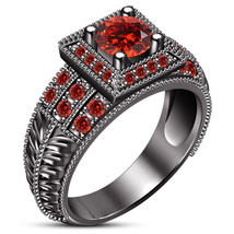Red Garnet Black Gold Plated Pure 925 Sterling Silver Women's Engagement... - $87.99