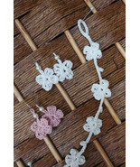 Crochet Flower Earrings and Bracelet Set (White and Pink) - $10.00+