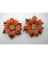 Poinsettia Flower Vintage Earrings Clip-On Red Floral Green Leaves Retro - $29.00