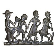 Haitian Metal Peasant Band Wall Hanging - Made From Recycled Oil Drums  - $65.95