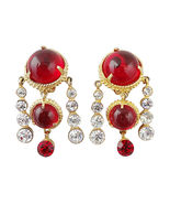 Mosell Big Faux Garnet Cabochon Runway Couture ... - $150.00