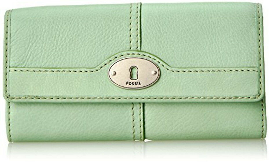 Fossil Marlow Flap Clutch Large Wallet Genuine Leather Multicolor Lavender Green