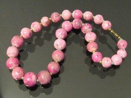 Vintage Jewelry Pink Stone Bead Necklace 21'' Length - $45.00