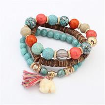 Wooden Beads Bracelets Women Bohemia Elephant Tassel Charm Bangles Set B... - $8.00