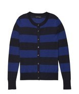Banana Republic Women Cardigan S M Navy Blue Rugby Stripe Long Sleeve Cr... - $39.99