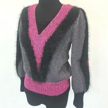 Vintage Antonella Preve New York Sweater size M Black Angora Pink Gray K... - $59.95