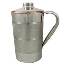 Steel Copper Jug Pitcher Drinkware Accessory for Ayurvedic Healing Luxury - $23.56