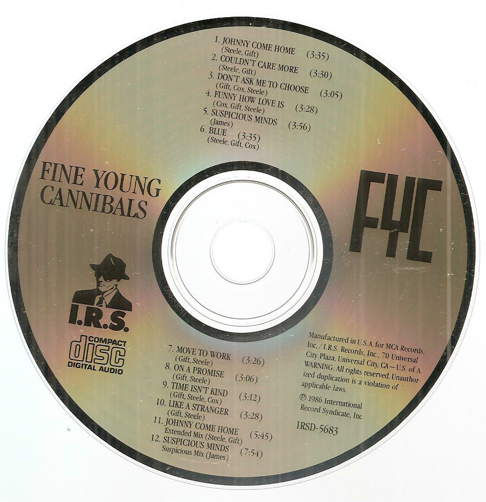 Fine Young Cannibals debut CD MCA no barcode Jimmy Somerville Suspicious Minds