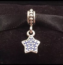 Authentic Pandora Star Pave Blue CZ Dangle Charm Pandora Charm Sterling Silver - $25.99