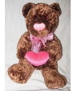Walmart Brown Teddy Bear Pink Heart Nose Plush Stuffed Animal Valentines... - $24.73