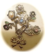 Robert Rose Vintage SILVERTONE METAL BOUQUET AND BOW RHINESTONE PEARLS - $16.00