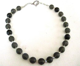 """18"""" Glass Bead Necklace Smoky Gray Black Small Crystal Accents Toggle Clasp - $8.71"""