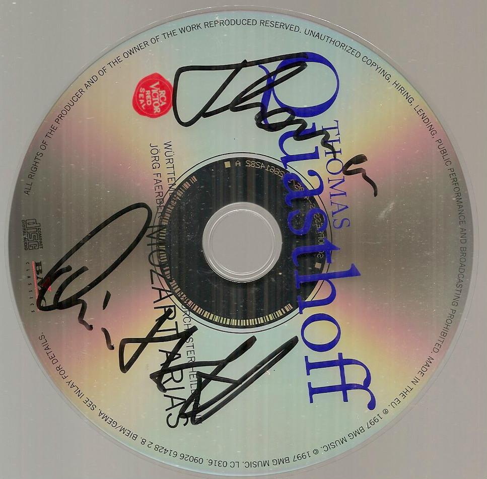 Mozart Arias Thomas Quasthoff CD signed autographed German bass baritone opera