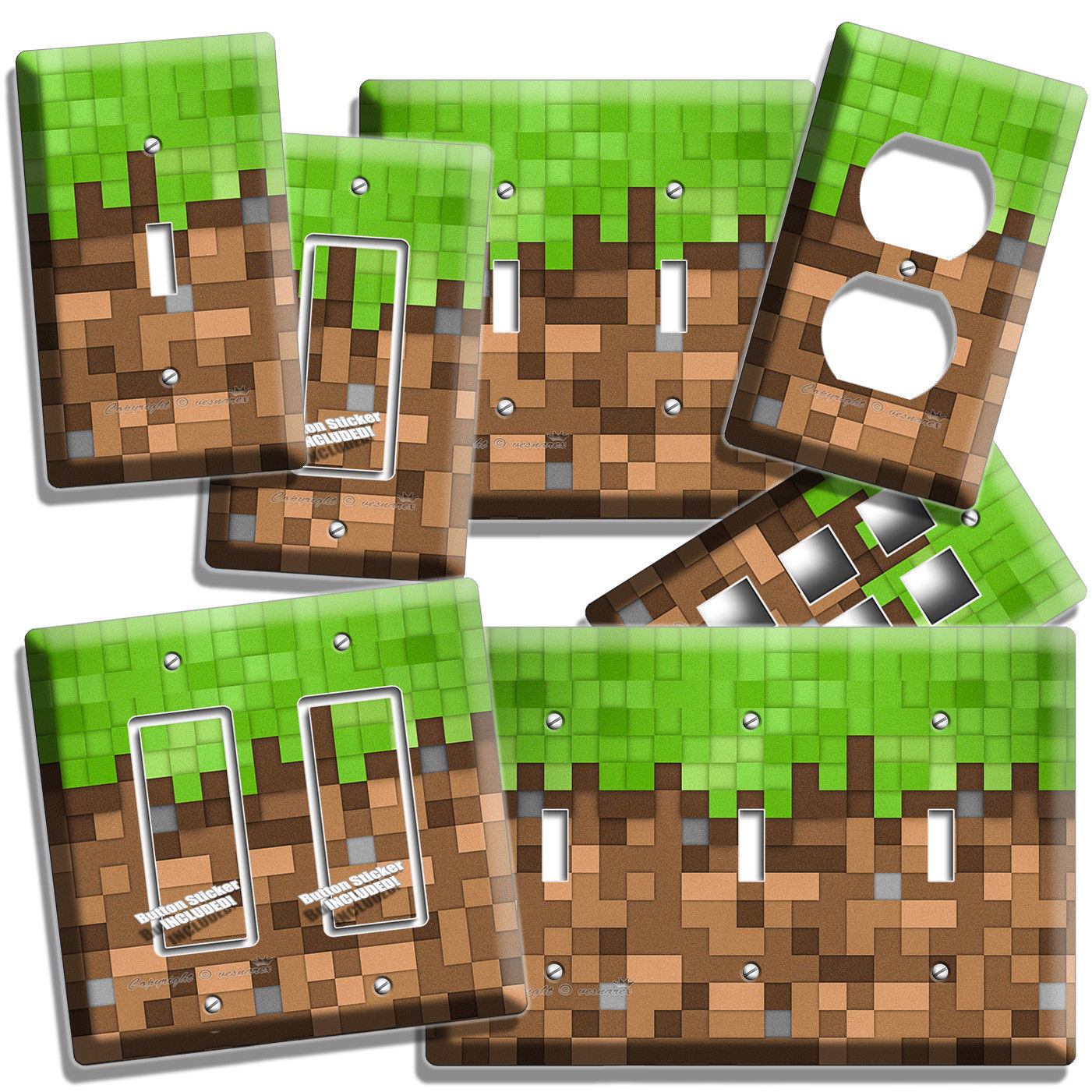 VIDEO GAME PIXELS BLOCKS LIGHT SWITCH WALL PLATE OUTLET BOYS BEDROOM ROOM DECOR - $10.99 - $22.99