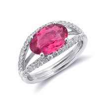 14k White Gold 2.18ct TGW Natural Pink Tourmaline and White Diamond Ring - £1,423.70 GBP