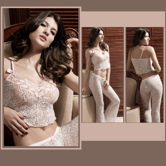Comfortable Stretch Floral Lace Pajama Camisole and Pants Set Rhinestones & Bows