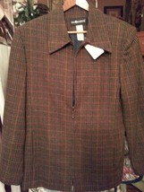 Womans Plaid wool jacket with zipper front - $15.00