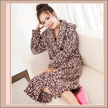Snuggly Soft Brown Leopard Fleece Lounger Cashmere Bath Robe w/ Pockets
