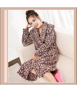 Snuggly Soft Brown Leopard Fleece Lounger Cashmere Bath Robe w/ Pockets - $69.95