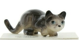 Hagen Renaker Miniature Cat Gray Crouching Ceramic Figurine image 1