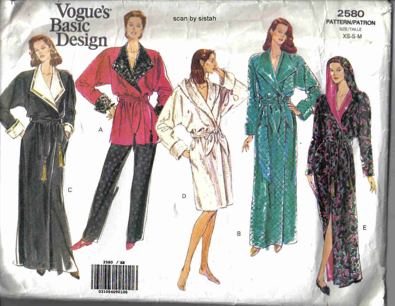 Vogue 2580 easy Pattern XS S M misses long short Robe Smoking Jacket