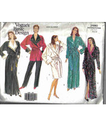 Vogue 2580 easy Pattern XS S M misses long short Robe Smoking Jacket - $14.77