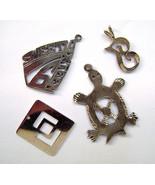 4 Vintage Sterling Silver Figural Turtle Oriental Charms Pendants - $21.00
