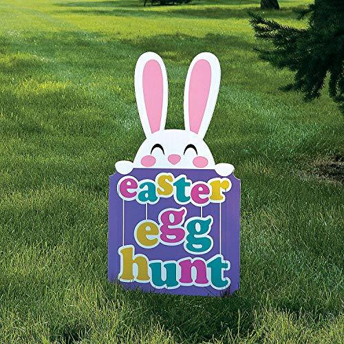 Primary image for Easter Bunny Egg Hunt Yard Sign with Metal STakes - Party Decor