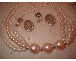 Pink pearl necklace silver shell earrings full thumb155 crop