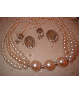 Vintage Jewelry Pink Pearl Necklace Shell Earrings - $12.00
