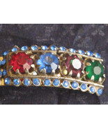 1930's Designer Signed NATTY CREATIONS Faceted Stones Double Scarf Clip Brooch - $46.00
