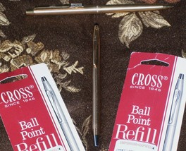 GOLD PaperMate Pencil + Gold CROSS Ball Point PEN + 2 New Ink Refills Bl... - $55.00