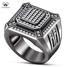 925 Sterling Silver 14k Black Gold Plated Men's Band Ring In Round Cut W... - $96.99
