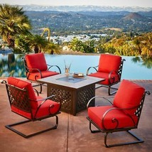 Sunvilla Sienna 5-Piece Metal Patio Fire Pit Conversation Set With Red C... - $1,795.00
