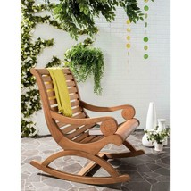 Outdoor Rocking Chair Brown Functional Wood Weather Resistant Comfortabl... - $238.00