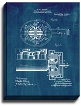 Dynamo-electric Machine Patent Print Midnight Blue on Canvas - $39.95+