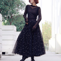 Black Party Skirt Outift  Long Tulle Skirt Plus Size Black Tutu Skirt Pearl deco image 2