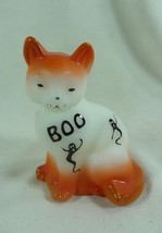 Fenton Sitting Cat White Satin Solid Glass Sand Carved Air Brushed Hallo... - $60.76